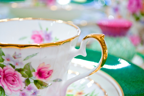 Antique floral tea set macro shot