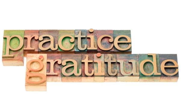 practice gratitude in wood type